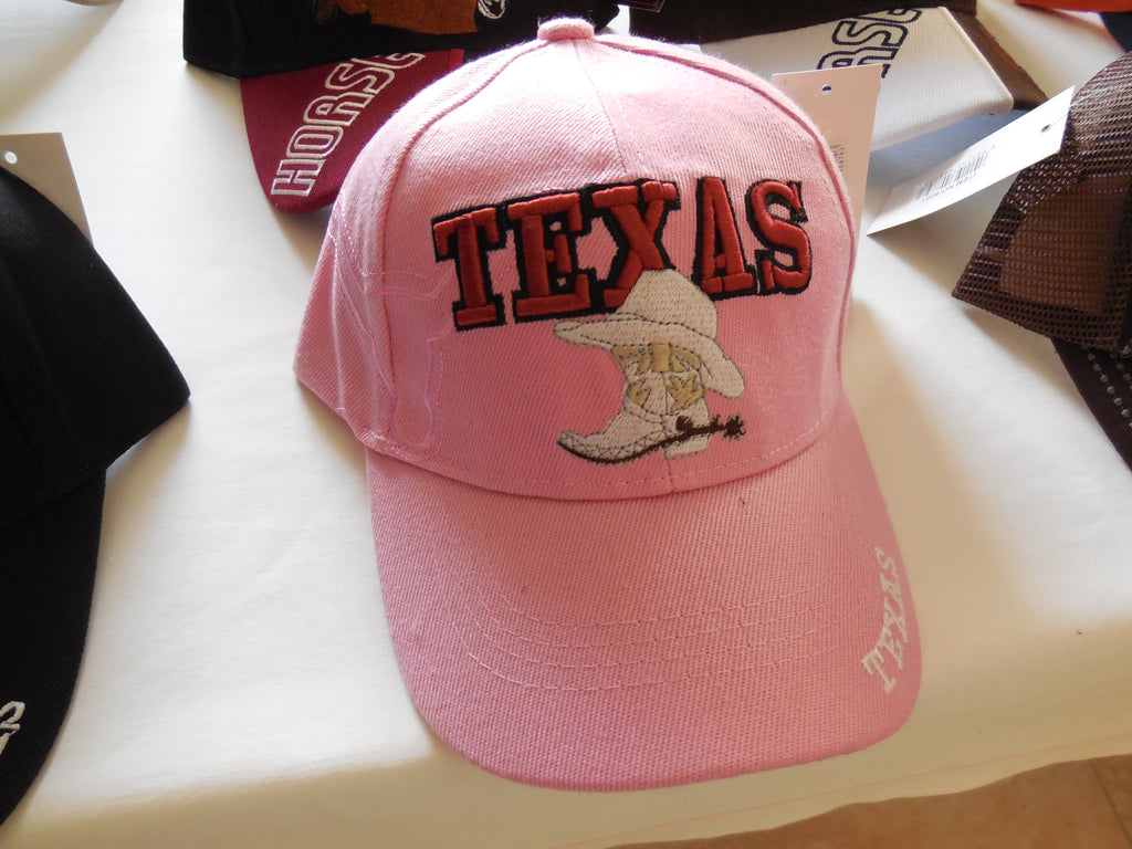 TEXAS VINTAGE BASEBALL CAP - PINK WITH LARGE HAT & BOOT EMBROIDERED BALL CAP, BRAND NEW- FREE SHIPPING