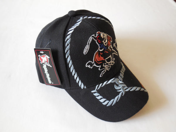 COWBOY RODEO VINTAGE BASEBALL CAP - BLACK or TAN WITH LARGE COWBOYS RODEO EMBROIDERED BALL CAP, BRAND NEW
