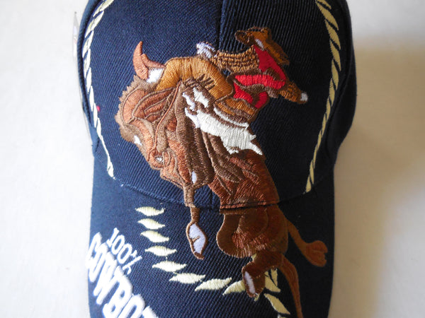 100% COWBOY VINTAGE BASEBALL CAP - DARK COFFEE or NAVY BLUE WITH LARGE COWBOY EMBROIDERED BALL CAP, BRAND NEW -- Free Shipping