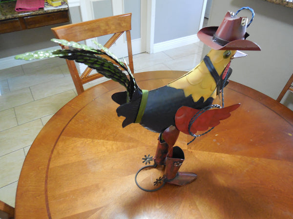 ROOSTER WITH ROPE GARDEN SCULPTURE METAL DECOR ORNAMENT  - RT6011
