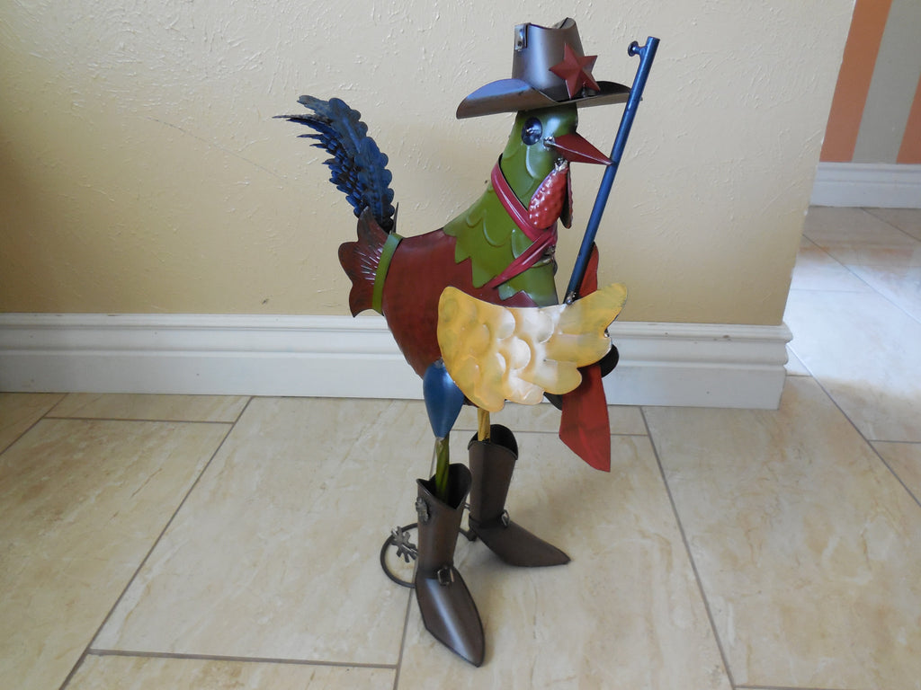 ROOSTER GARDEN SCULPTURE METAL DECOR ORNAMENT  - RT6011