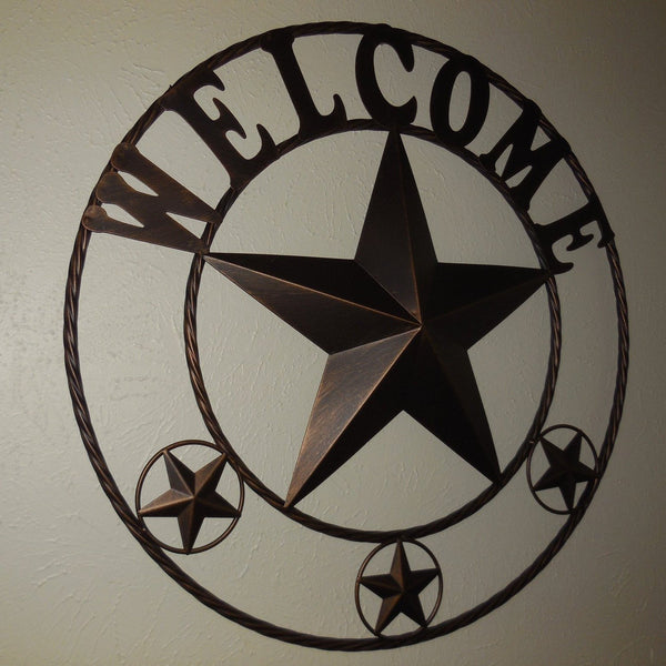 "24"",32"",40"",46"" WELCOME BARN STAR WITH TWISTED ROPE RING DESIGN METAL WALL ART WESTERN HOME DECOR VINTAGE RUSTIC BRONZE COPPER NEW"