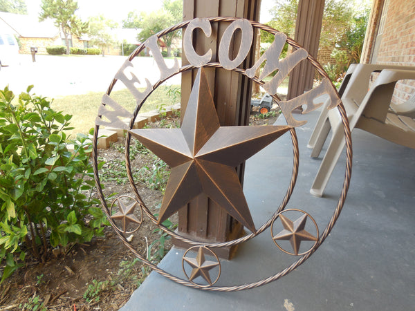 "18"", 24"",32"",40"",46"" WELCOME BARN STAR WITH TWISTED ROPE RING DESIGN METAL WALL ART WESTERN HOME DECOR VINTAGE RUSTIC BRONZE COPPER NEW"