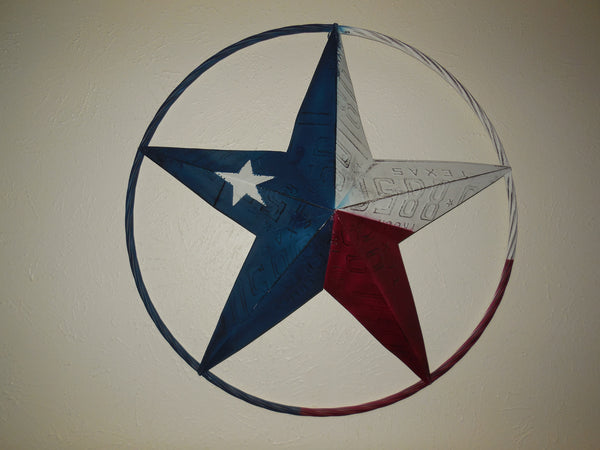 "12"", 16"", 24"" TEXAS LICENSE PLATE FLAG RED WHITE BLUE BARN STAR WESTERN HOME DECOR METAL ART VINTAGE RUSTIC RED WHITE & BLUE ART"