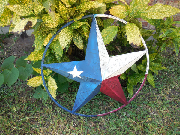 "24"" TEXAS LICENSE PLATE RED WHITE BLUE BARN STAR WESTERN HOME DECOR METAL ART VINTAGE RUSTIC RED WHITE & BLUE ART"