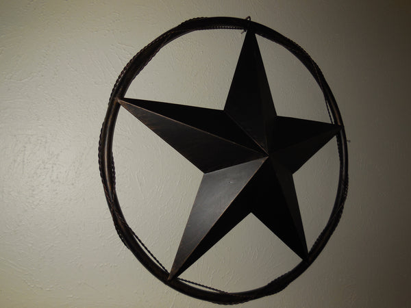 "24"" BARN STAR WITH SOLID RING & TWISTED BARBWIRE METAL WALL ART WESTERN HOME DECOR RUSTIC BRONZE COPPER - A10024"