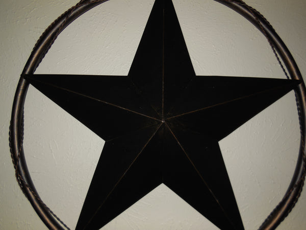 "12"" BARN STAR WITH SOLID RING & TWISTED BARB WIRE DESIGN METAL WALL ART WESTERN HOME DECOR VINTAGE RUSTIC DARK BRONZE COPPER NEW - A10024 --FREE SHIPPING"