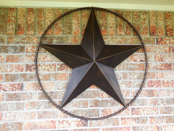 "32"" BARN LONE STAR WITH TWISTED ROPE RING METAL WALL ART RUSTIC BRONZE COPPER NEW"