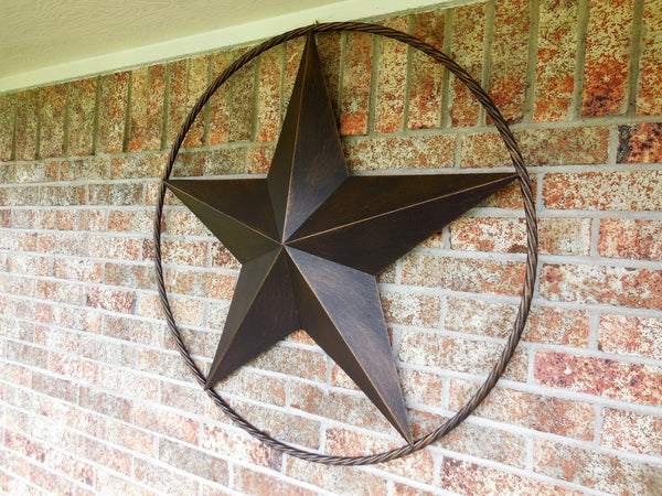 "12"",16"",24"",32"",38"",48"",60"",84"",96"" RUSTIC DARK BRONZE COPPER BARN LONE STAR WITH TWISTED ROPE RING METAL WALL ART WESTERN HOME DECOR VINTAGE RUSTIC DARK BRONZE NEW"