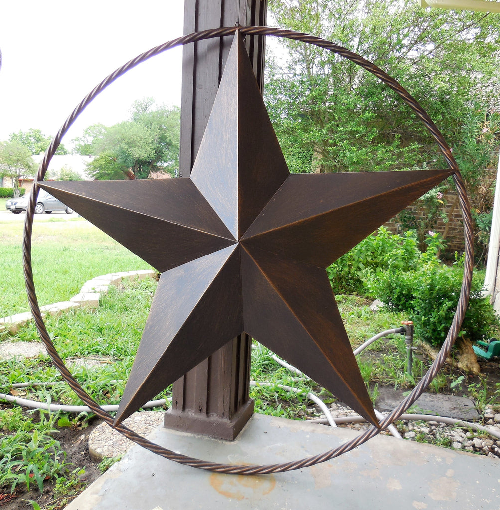"Star Decorations For Home: 24"" BARN LONE STAR WITH TWISTED ROPE RING METAL WALL ART"