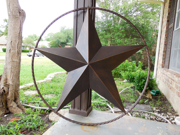 "38"" BARN LONE STAR WITH TWISTED ROPE RING METAL WALL ART VINTAGE RUSTIC DARK BRONZE NEW"