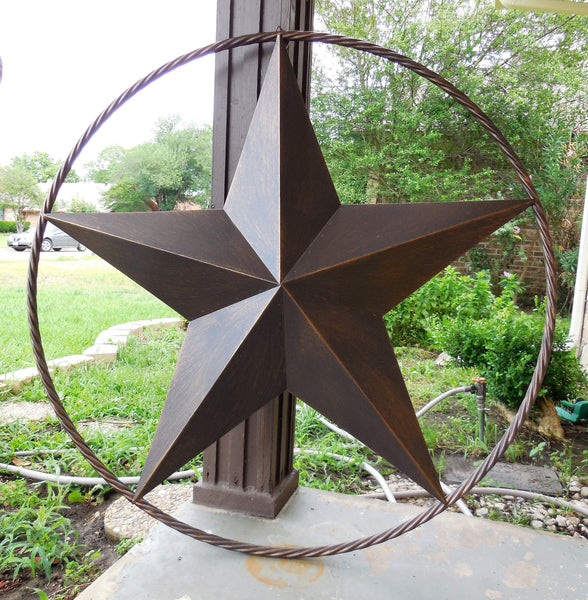 "12"",16"",24"",32"",34"", 36"",38"",40"",48"",60"",72"",96"" RUSTIC BRONZE COPPER BARN LONE STAR WITH TWISTED ROPE RING METAL WALL ART WESTERN HOME DECOR VINTAGE RUSTIC HANDMADE CRAFT NEW"