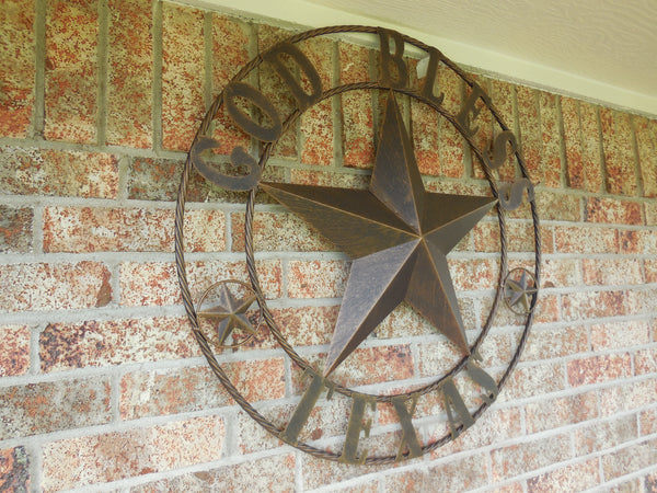 "24"",32"",42"" GOD BLESS TEXAS BARN STAR WITH TWISTED ROPE RING DESIGN METAL WALL ART WESTERN HOME DECOR VINTAGE RUSTIC DARK BRONZE COPPER NEW"