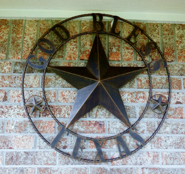 "24"",32"",40""GOD BLESS TEXAS BARN STAR WITH TWISTED ROPE RING DESIGN METAL WALL ART WESTERN HOME DECOR VINTAGE RUSTIC DARK BRONZE COPPER NEW"