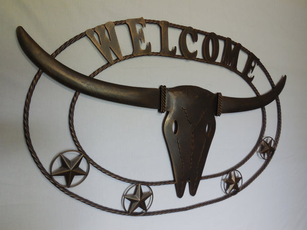 "WELCOME TEXAS LONGHORNS METAL ART WALL DECOR WESTERN HOME DECOR NEW RUSTY BROWN 42"" x 26"""