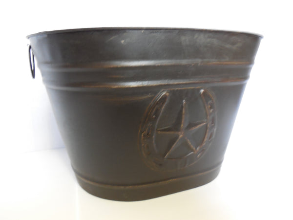 HORSESHOE STAR BUCKET OVAL TUB WESTERN HOME DECOR METAL ART--BRAND NEW