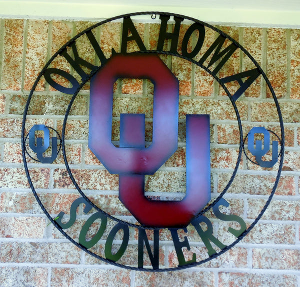 "12"", 18"", 24"", 32"" OU SOONERS OKlahoma METAL COLLEGE WESTERN HOME DECOR WALL ART, BRAND NEW#"