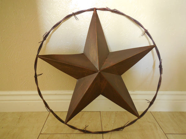 "24"" BARBED WIRE BARN METAL STAR WESTERN HOME COUNTRY DECOR ART BRAND NEW Item# B15033-- FREE SHIPPING"