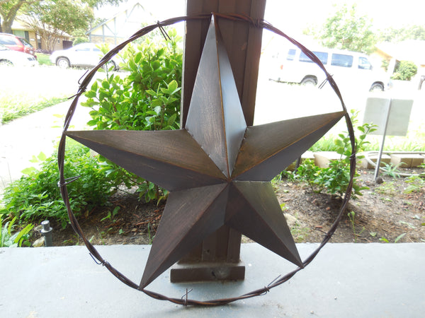 "24"" BARBED WIRE BARN METAL STAR WESTERN HOME COUNTRY DECOR ART VINTAGE RUSTIC BRONZE NEW"
