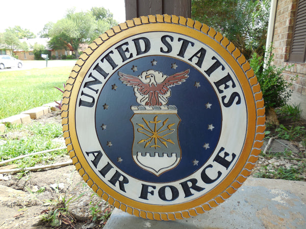 "21"" UNITED STATES AIRFORCE MILITARY HAND CARVED WOOD PLAQUE ART CRAFT WESTERN HOME DECOR RUSTIC HANDMADE ART NEW"