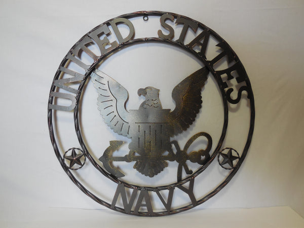 "24"" USA NAVY MILITARY METAL WALL ART DECOR VINTAGE RUSTIC BRONZE WESTERN HOME DECOR NEW"