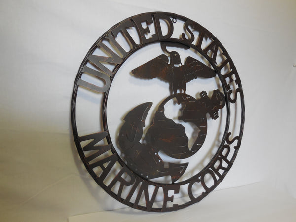 "24"" USA MARINE CORPS MILITARY METAL WALL ART DECOR VINTAGE RUSTIC BRONZE WESTERN HOME DECOR NEW"