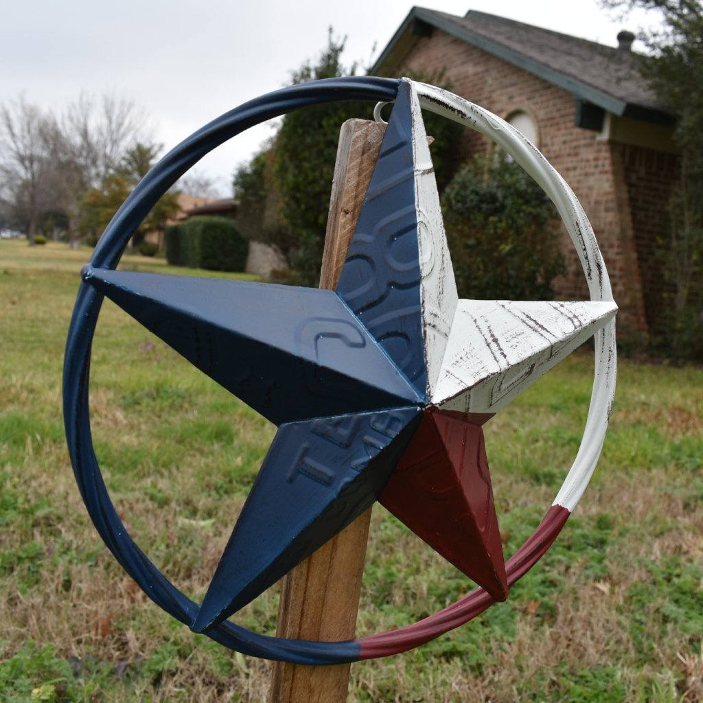 "12"", 16"", 24"" TEXAS LICENSE PLATE RED WHITE BLUE BARN STAR WESTERN HOME DECOR METAL ART VINTAGE RUSTIC RED WHITE & BLUE ART"