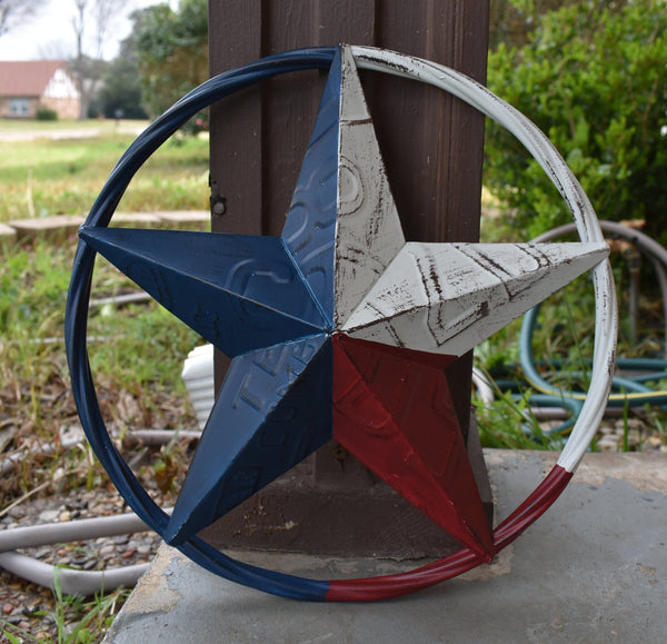 "12"", 16"" TEXAS LICENSE PLATE RED WHITE BLUE BARN STAR WESTERN HOME DECOR METAL ART VINTAGE RUSTIC RED WHITE & BLUE ART -- FREE SHIPPING"