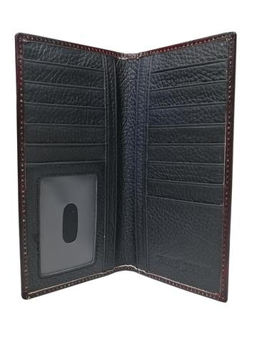 WESTERN CHECKBOOK BI FOLD WOMEN'S WALLET & MEN'S WALLET GENUINE LEATHER BROWN FRONT FLORAL EMBOSSED