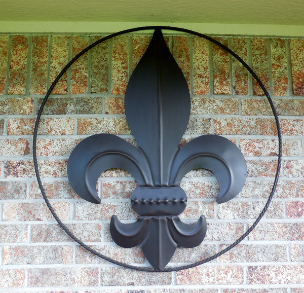 "36"" FLEUR DE LIS METAL WALL ART WESTERN HOME DECOR VINTAGE RUSTIC BROWN NEW"