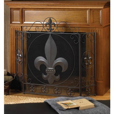 FLEUR-DE-LIS FIREPLACE SCREEN HOME DECOR