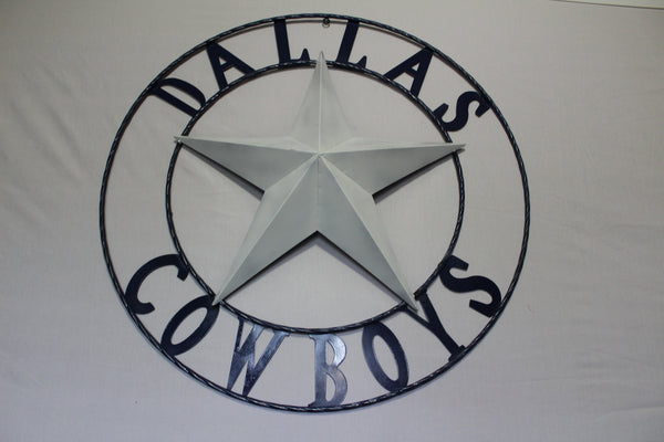 "DALLAS COWBOYS DECOR METAL ART WESTERN HOME WALL DECOR RUSTIC VINTAGE BLUE & WHITE STAR, SIZE:24"",32"",36"",40"",42"",44"",46"",50"""