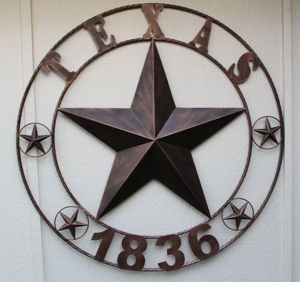"24"", 32"", 36"", 40"", 44"", 50"" RUSTIC BRONZE TEXAS 1836 BARN STAR METAL ART WESTERN HOME DECOR VINTAGE RUSTIC DARK BRONZE NEW"