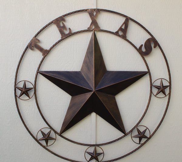 "TEXAS BARN STAR METAL ART WESTERN HOME DECOR VINTAGE RUSTIC DARK BRONZE 24"",32"",36"",40"",44"",50"""