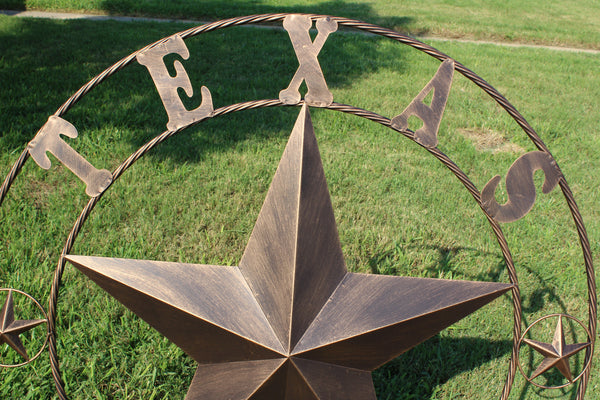 "TEXAS BARN STAR METAL ART WESTERN HOME DECOR VINTAGE RUSTIC DARK BRONZE 24"",32"",36"",40"",44"",50"",60"",72"""