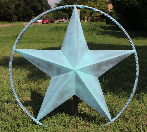 "48"" BARN LONE STAR WITH LARGE TWISTED ROPE RING METAL ART VINTAGE RUSTIC TURQUOISE NEW"