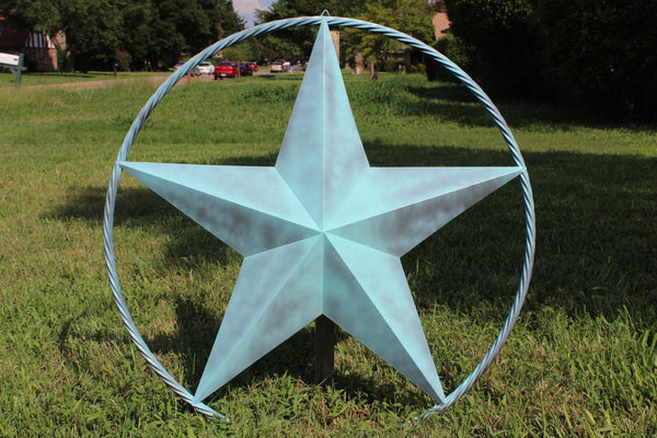 "48"" BARN LONE STAR WITH TWISTED ROPE RING METAL ART VINTAGE RUSTIC BRONZE COPPER NEW"