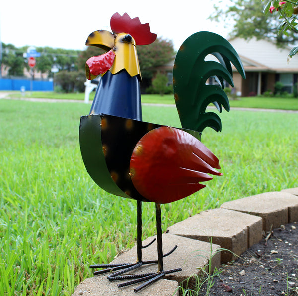 ROOSTER PLAIN GARDEN SCULPTURE METAL DECOR ORNAMENT OUTDOOR OR INDOOR BIRD CHICKEN YARD ART - RT6011