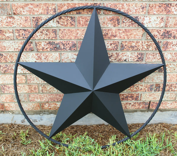 "12"", 16"", 24"", 32"", 34"",36"",38"",40"",48"",60"",72"",84"",96"" BLACK BARN LONE STAR WITH TWISTED ROPE RING DESIGN METAL WALL ART WESTERN HOME DECOR VINTAGE RUSTIC DARK BLACK NEW"