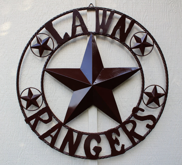 "24"", 32"", 36"", 44"", 46"", 50"" LAWN RANGERS CUSTOM NAME BARN STAR WITH TWISTED ROPE RING DESIGN METAL WALL ART WESTERN HOME DECOR VINTAGE RUSTIC BROWN NEW HANDMADE"