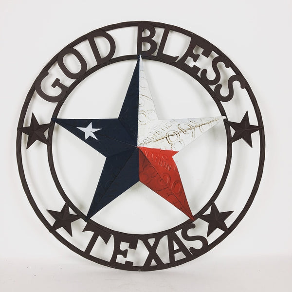 "24"" GOD BLESS TEXAS RED WHITE BLUE TEXAS LICENSE PLATE BARN STAR WITH TWISTED ROPE RING DESIGN METAL WALL ART WESTERN HOME DECOR VINTAGE RUSTIC TEXAS FLAG COLORS NEW"