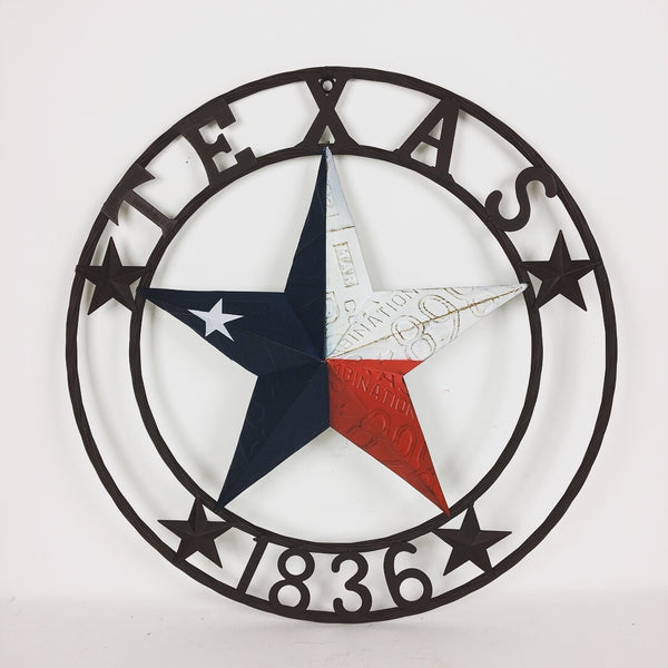 TEXAS 1836 RED WHITE BLUE TEXAS LICENSE PLATE BARN STAR WITH TWISTED ROPE RING DESIGN METAL WALL ART WESTERN HOME DECOR VINTAGE RUSTIC TEXAS FLAG COLORS NEW