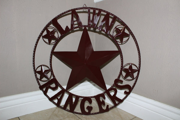 "24"", 32"", 36"", 40"", 44"", 46"", 50"" LAWN RANGERS CUSTOM STAR METAL NAME BARN STAR WITH TWISTED ROPE RING DESIGN METAL WALL 3d STAR ART WESTERN HOME DECOR VINTAGE RUSTIC BROWN NEW HANDMADE"