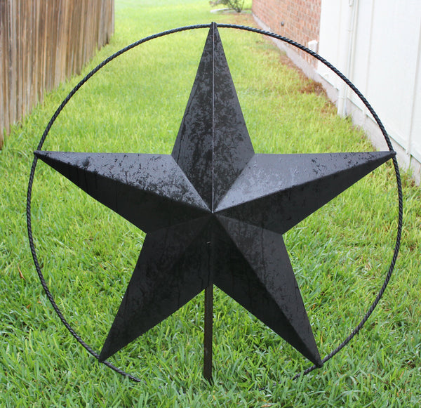 "48""  BLACK BARN LONE STAR TWISTED ROPE RING METAL WALL ART"