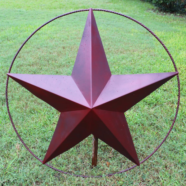 "48"" BARN LONE STAR WITH LARGE TWISTED ROPE RING METAL ART VINTAGE RUSTIC BURGUNDY RED NEW"