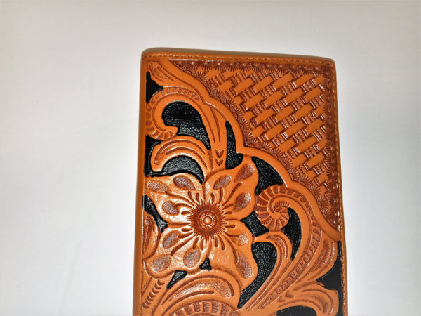 WESTERN CHECKBOOK BI FOLD WOMEN'S WALLET or MEN'S WALLET GENUINE LEATHER TAN/BLACK FRONT FLORAL EMBOSSED