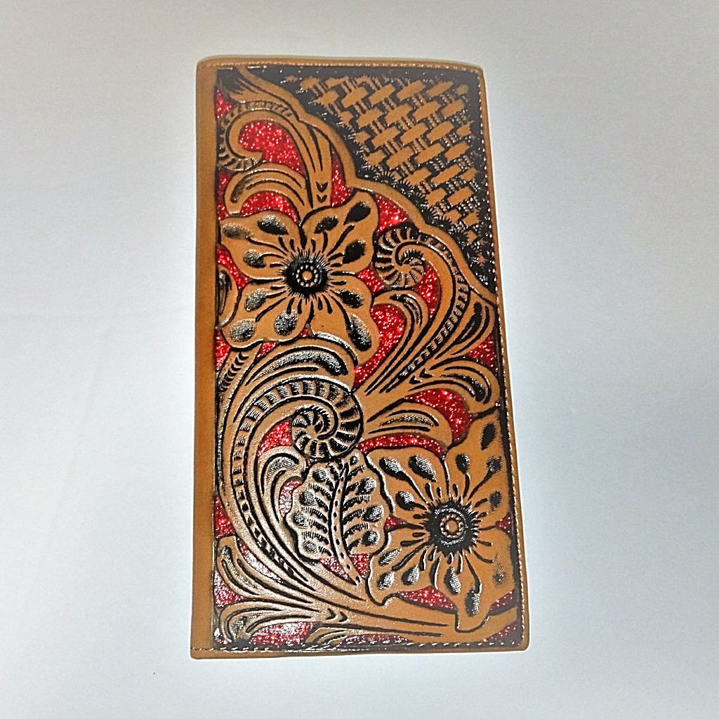 WESTERN CHECKBOOK BI FOLD MEN'S WALLET GENUINE LEATHER TAN/RED FRONT FLORAL EMBOSSED--FREE SHIPPING