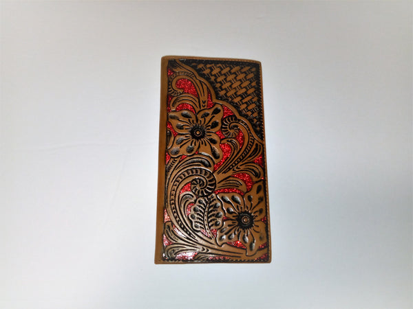 WESTERN CHECKBOOK BI FOLD WOMEN'S WALLET or MEN'S WALLET GENUINE LEATHER TAN/RED FRONT FLORAL EMBOSSED
