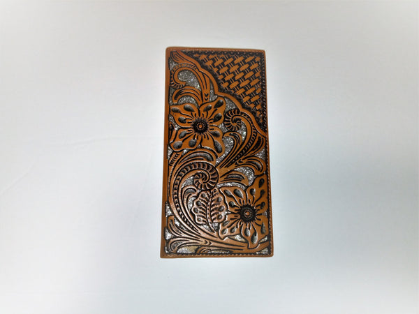 WESTERN CHECKBOOK BI FOLD WOMEN'S WALLET & MEN'S WALLET GENUINE LEATHER TAN/SILVER FRONT FLORAL EMBOSSED