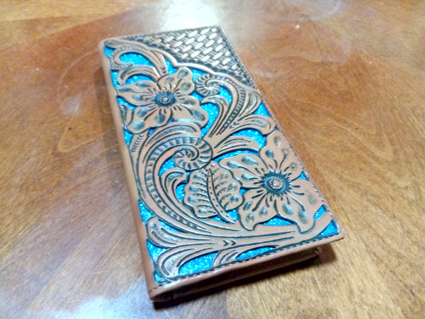 WESTERN CHECKBOOK BI FOLD WOMEN'S WALLET & MEN'S WALLET GENUINE LEATHER TAN/TURQUOISE FRONT FLORAL EMBOSSED